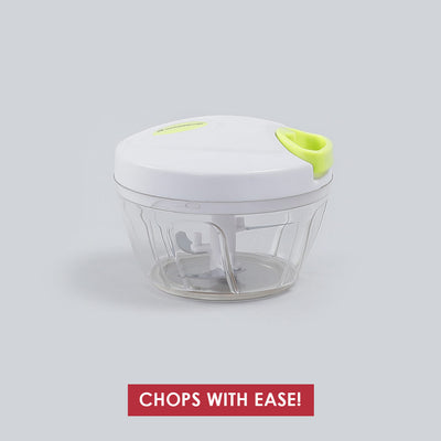 Classic String Vegetable Chopper with 3 Sharp SS Blade, Anti Slip Silicone,Compact,1 Year Warranty White and Green-Kitchen Accessories