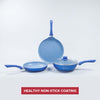 Royal Velvet Plus Aluminium Nonstick Cookware Set, 4Pc, Blue