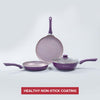 Royal Velvet Plus Aluminium Nonstick Cookware Set, 4Pc, Purple