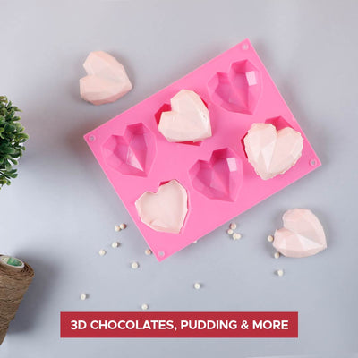 Ambrosia Silicone 3D Heart Shaped Mould - Pink-Bakeware