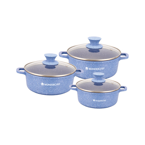 Granite Non-stick 6-piece Casserole Set with Lids, Induction bottom, Soft-touch handles, Virgin grade aluminium, PFOA/Heavy metals free, 3.5mm, 2 years warranty, Blue