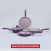 Royal Velvet Mega Aluminium Nonstick Cookware Set, 4Pc, Purple