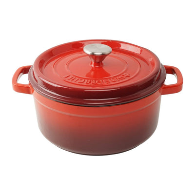 Ferro Cast-iron Casserole with Lid 3.5mm, Red-Cookware