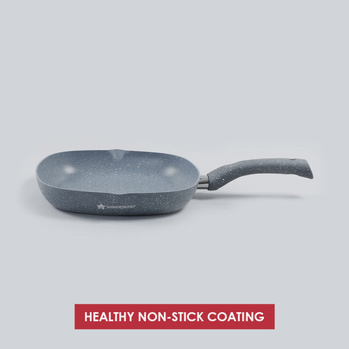 Granite Non-stick Grill Pan, Soft-touch handles, Virgin grade aluminium, PFOA/Heavy metals free, 3.5mm, 2 years warranty, Grey