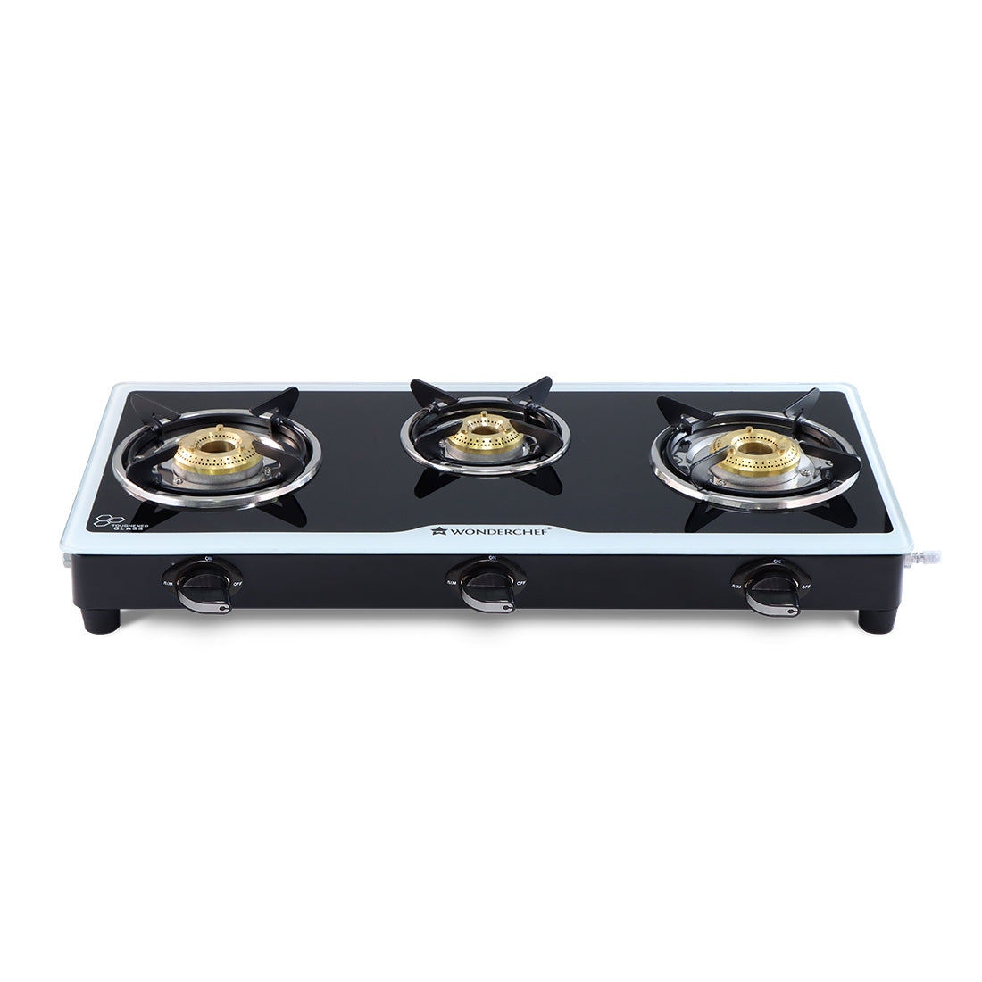 Platinum 3 Burner Glass Cooktop, Black 6mm Toughened Glass with 1 Year Warranty, Ergonomic Knobs, Stainless Steel Drip Tray, Manual Ignition Gas Stove