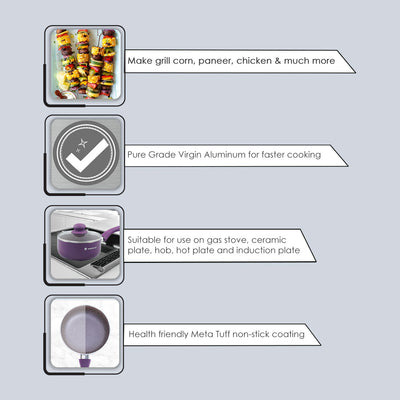 Royal Velvet Non-stick Sauce Pan with Lid, Induction bottom, Soft-touch handle, Virgin grade aluminium, PFOA/Heavy metals free, 3 mm, 2 years warranty, Purple-Cookware