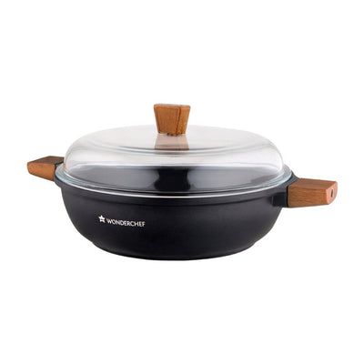 Wonderchef Caesar Frying Pan With Wooden Handle 20Cm + Caesar Shallow Casserole 28Cm - 4.07L-Combo