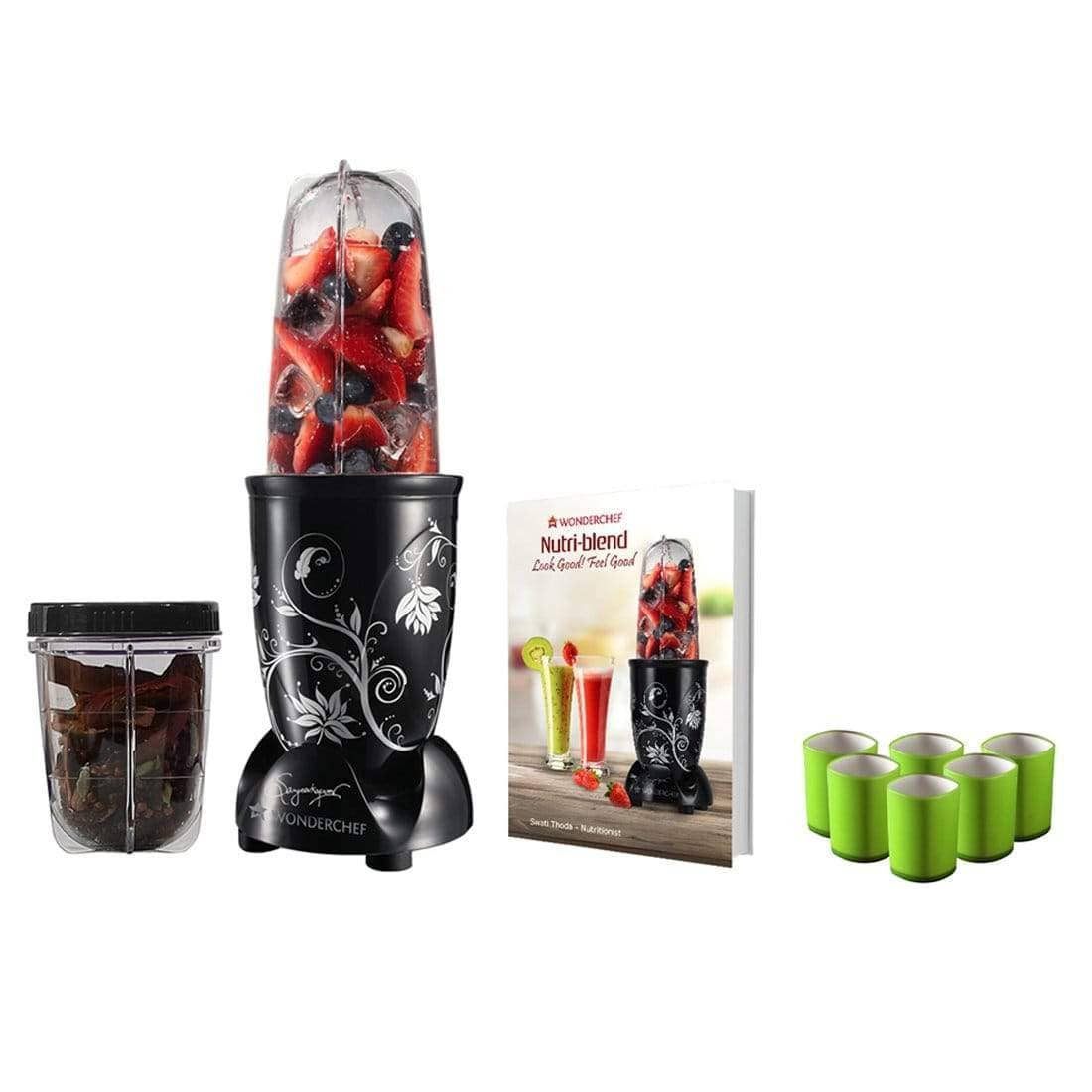 Nutri-blend, 22000 RPM Mixer-Grinder, Blender, SS Blades, 2 Unbreakable Jars, 2 Years warranty, 400 W-Black with Serving Glass Set, Online Recipe Book By Chef Sanjeev Kapoor