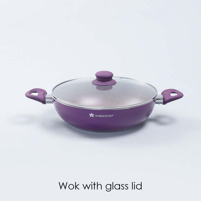 Royal Velvet Aluminium Nonstick Wok With Lid , 3mm, Purple-Cookware