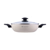 Romano Warm White Aluminium Nonstick Wok with Lid- 24cm, 2.7L, 2.5mm, White