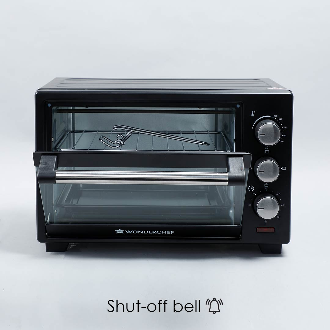 Oven Toaster Griller (OTG) - 19 Litres, Black - with Auto-shut off, Heat-Resistant Tempered Glass, Multi-Stage Heat Selection