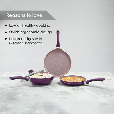 Royal Velvet Plus Aluminium Nonstick Cookware Set, 4Pc, Purple-Hot-Sets