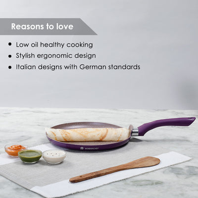Royal Velvet Non-stick Dosa Tawa, Induction bottom, Soft-touch handle, Virgin grade aluminium, PFOA/Heavy metals free, 3mm, 2 years warranty, Purple-Cookware