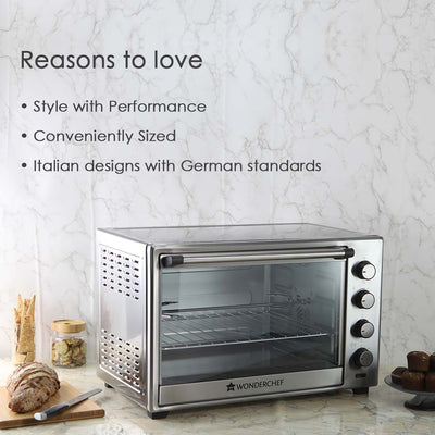 Oven Toaster Griller (OTG) - 60 Litres, Stainless Steel – with Rotisserie, Auto-shut off, heat-resistant tempered glass, 6-stage heat selection-Appliances