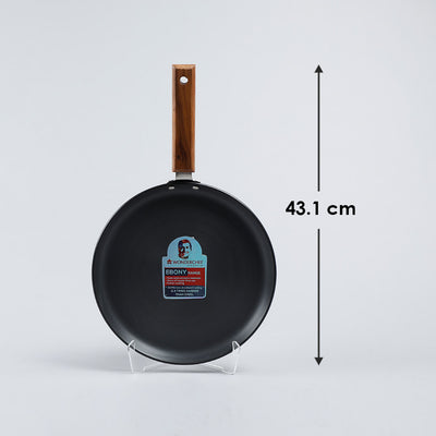 Ebony Hard Anodized Aluminium Dosa Tawa - 26.5cm, 4.88mm, Black-Cookware