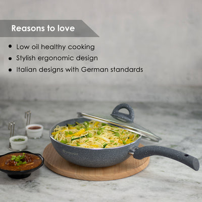 Granite Non-stick Wok, Induction bottom, Soft-touch handles, Virgin grade aluminium, PFOA/Heavy metals free, 3.5mm, 2 years warranty, Grey-Cookware