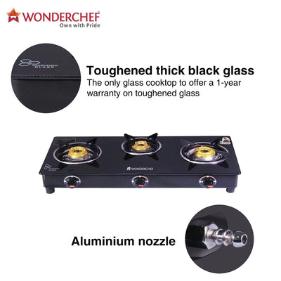 Ruby Black 3 Burner Glass Cooktop-Cookware