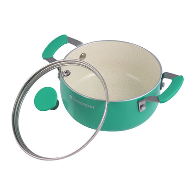 Piccolo Aluminium Ceramic Casserole with Glass Lid- 14cm, 0.9L, 2.5mm, Green-Cookware