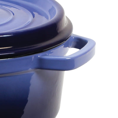 Ferro Cast-iron Casserole with Lid - 26cm, 5L, 3.5mm, Blue-Cookware