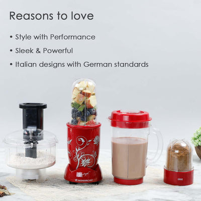 Nutri-blend Compact FP (Mixer, Grinder, Chopper, Food Processor), 4 Jars, 400W-Red-Nutri-blend