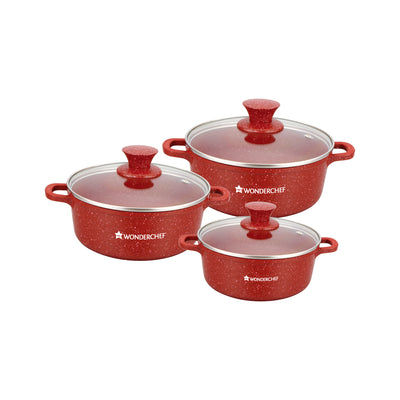 Granite Non-stick 6-piece Casserole Set with Lids, Induction bottom, Soft-touch handles, Virgin grade aluminium, PFOA/Heavy metals free, 3.5mm, 2 years warranty, Red-Hot-Sets
