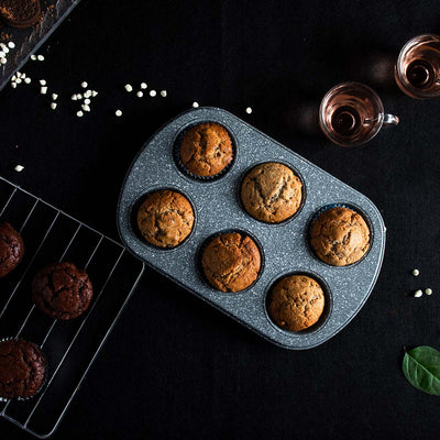 Ambrosia 6 Cup Metal Round Muffin Pan, Cupcake Tray, Baking Mould Tray, Non-Stick Bakeware Reusable Tray Pan-Bakeware