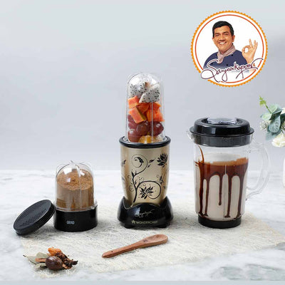 Nutri-Blend, 22000 RPM Mixer-Grinder, Blender, SS Blades, 3 Unbreakable Jars, 2 Years Warranty, 400 W-Champagne, Includes Exclusive Recipe Book By Chef Sanjeev Kapoor-Nutri-blend