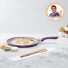 Royal Velvet Non-stick Dosa Tawa, Induction bottom, Soft-touch handle, Virgin grade aluminium, PFOA/Heavy metals free, 3 mm,  2 years warranty, Purple-Cookware