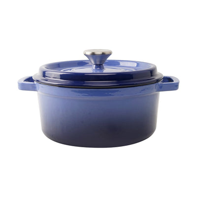 Ferro Cast-iron Casserole with Lid - 26cm, 2.6L,  3.5mm, Blue-Cookware
