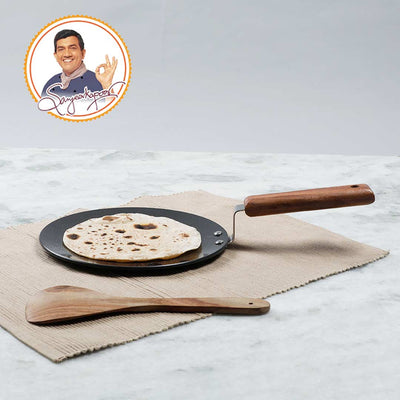 Ebony Hard Anodized Aluminium Roti Tawa 22cm, 4.06mm, Black-Cookware