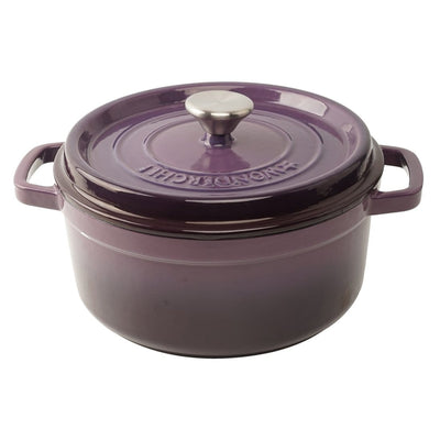 Ferro Cast-iron Casserole with Lid, 3.5mm, Purple-Cookware