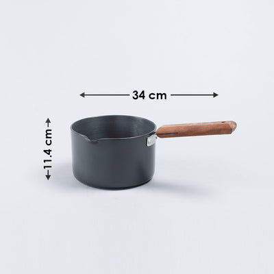 Ebony Hard Anodized Nonstick Sauce Pan 16cm, 2L, 3.25 mm, Black and Brown-Cookware