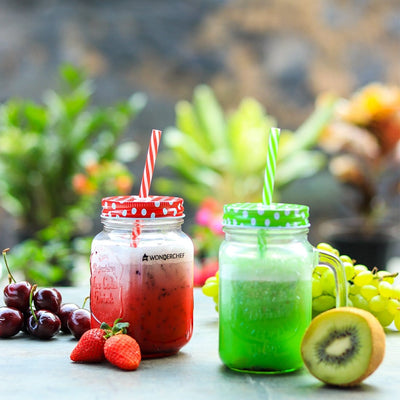 Wonderchef Mason Jar Set 450Ml (Red And Green)-Kitchen Accessories