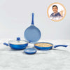 Royal Velvet Non-stick 5-piece Cookware Set (Fry Pan with Lid, Wok, Dosa Tawa, Mini Fry Pan) Induction bottom, Soft-touch handles, Virgin grade aluminium, PFOA/Heavy metals free, 3 mm, 2 years warranty, Blue-Hot-Sets