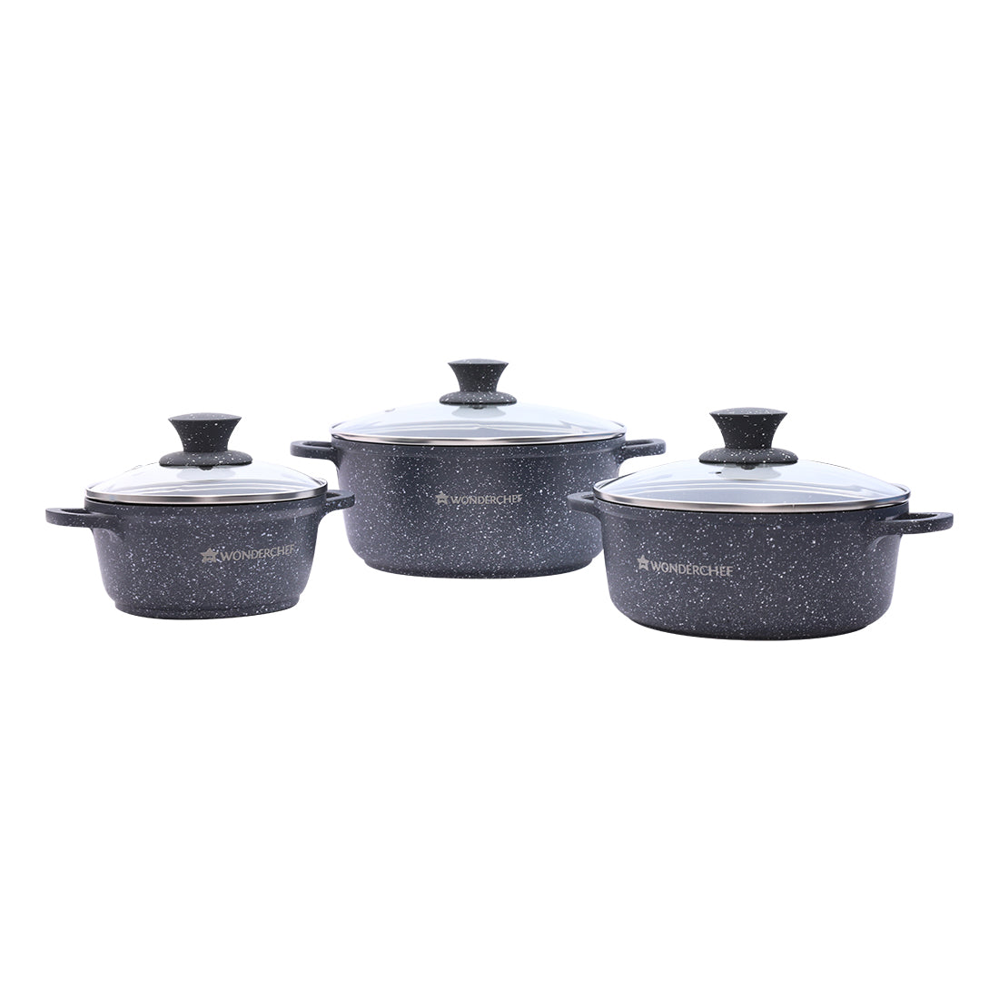 Granite Die-Cast Aluminium Nonstick Casserole Cookware Set 6Pc, Black
