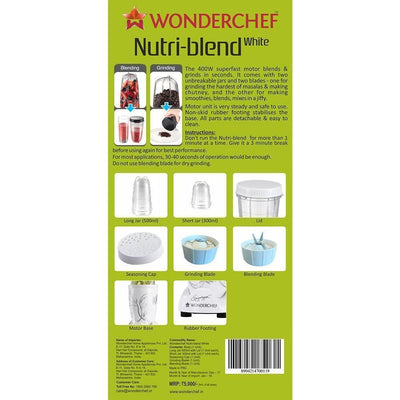 Wonderchef Nutri-Blend White With Free Serving Glass Set-Appliances