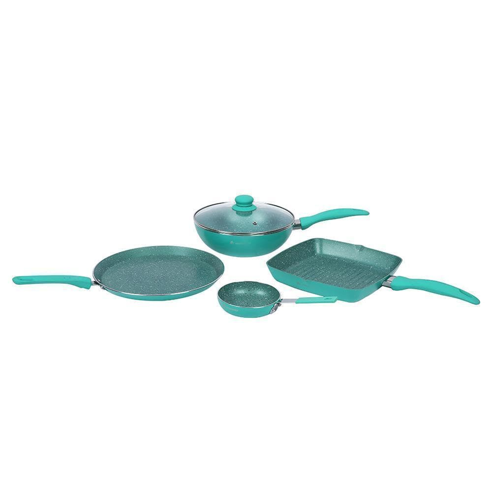 Celebration Aluminium Nonstick Cookware Set, 5Pc, Turquoise blue