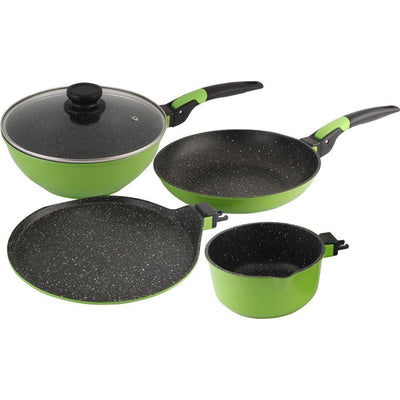 Wonderchef Click Amaze Cookware Set Of 4 Pcs -Green (Induction Base)-Cookware