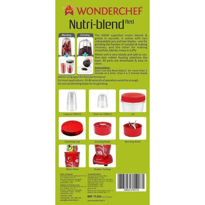 Nutri-blend Mixer Grinder 400W With Serving Glass Set-Red-Nutri-blend