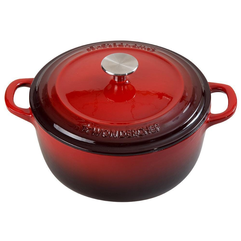 Wonderchef Ferro Cast-Iron 20Cm Casserole With Lid-2L - Red
