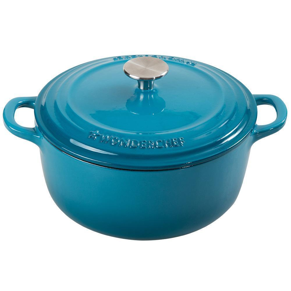 Wonderchef Ferro Cast-Iron 22cm casserole with lid 2.8L - Blue