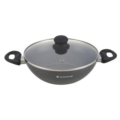 Premia Aluminium Nonstick Wok with Lid- 28cm, 3.6L, 3mm, Black-Cookware