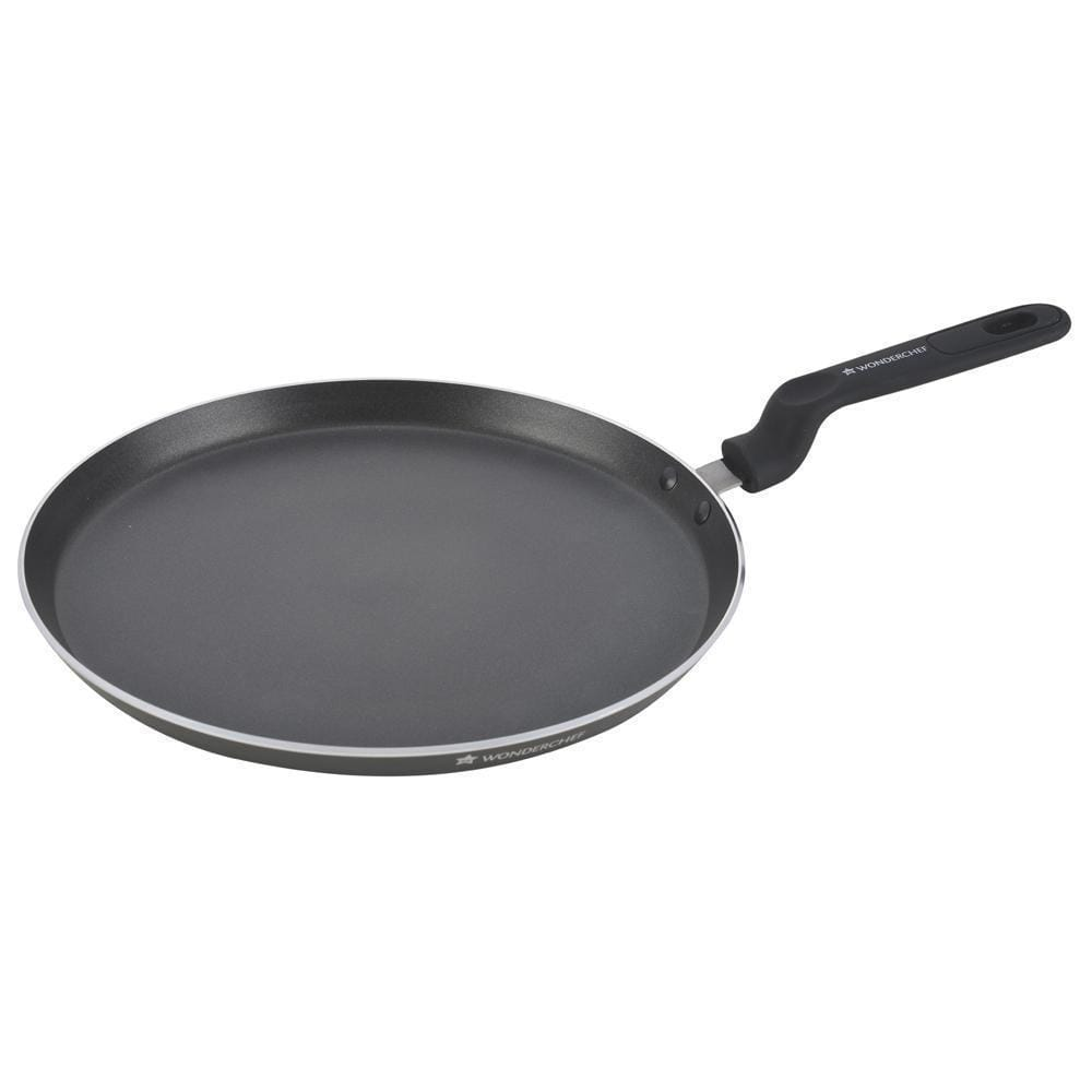 Wonderchef Premia Aluminium Nonstick Dosa Tawa- 30cm, 3mm, Black