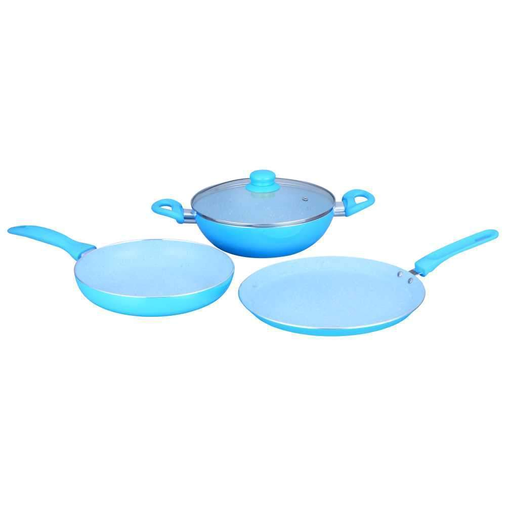 French Blossom Aluminium Nonstick Cookware Set, 4Pc, Blue