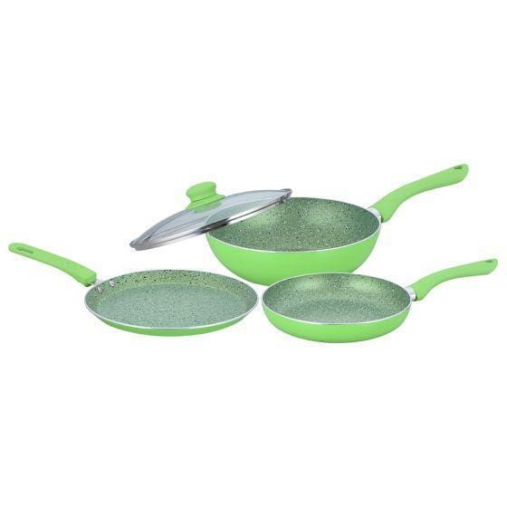 Royal Velvet Plus Aluminium Nonstick Cookware Set, 4Pc, Green