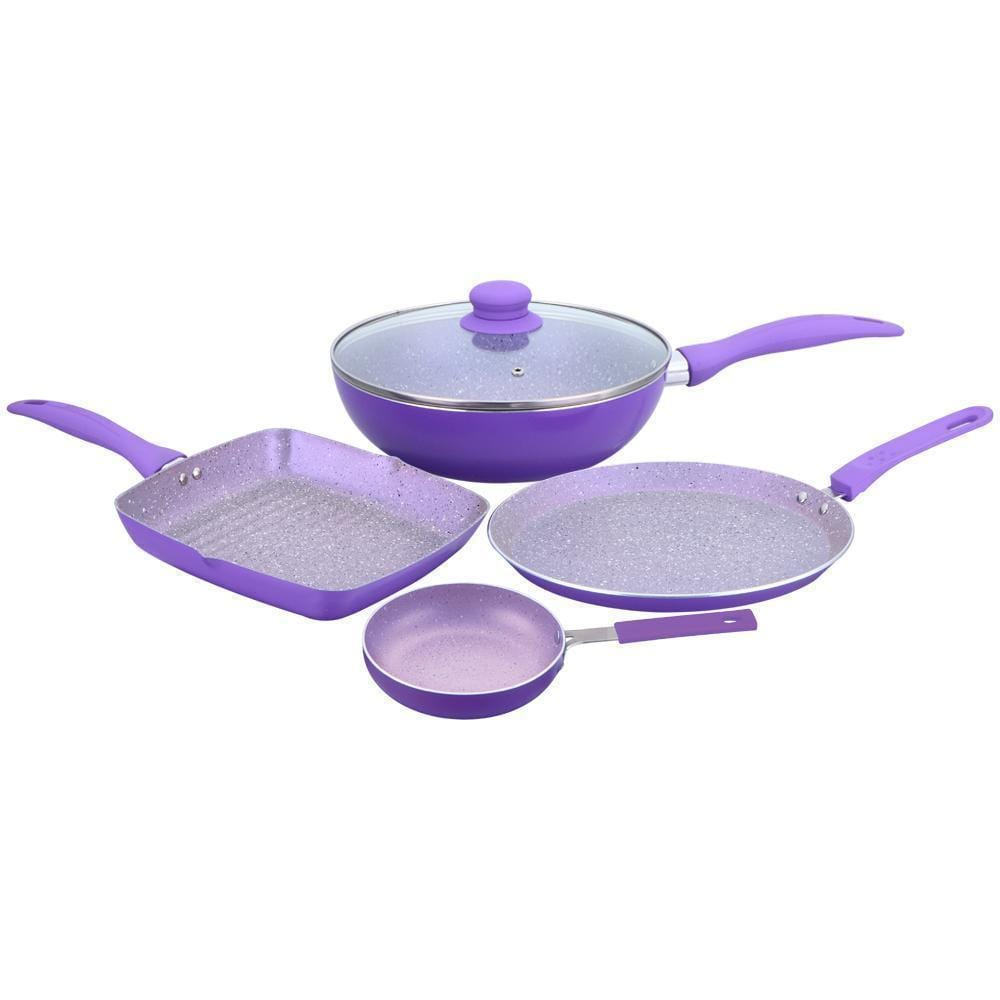 Celebration Aluminium Nonstick Cookware Set, 5Pc, Purple