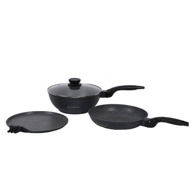 Click Granite Aluminium Nonstick Cookware Set, 4Pc, Black-Hot-Sets