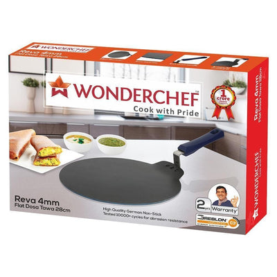 Wonderchef Reva Flat Aluminium Nonstick Dosa Tawa- 28cm, 4mm, Black-Cookware