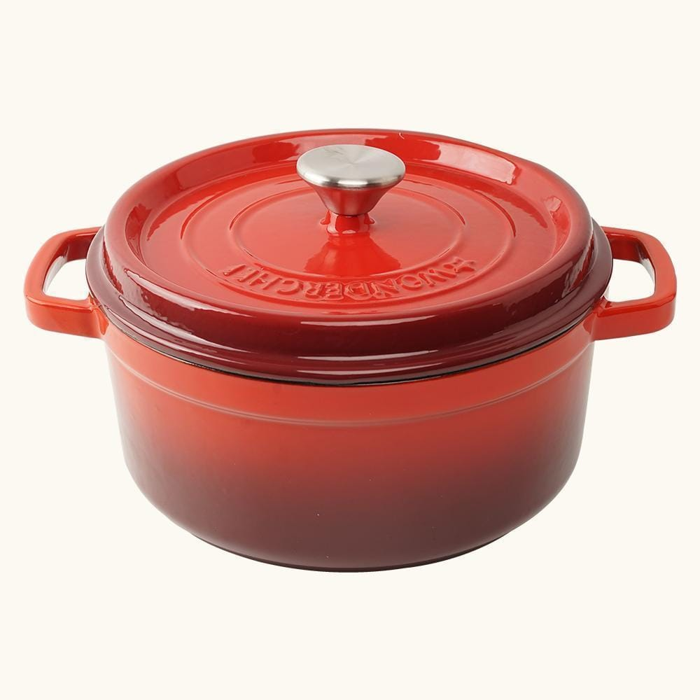Wonderchef Ferro Cast-Iron Casserole With Lid- Red