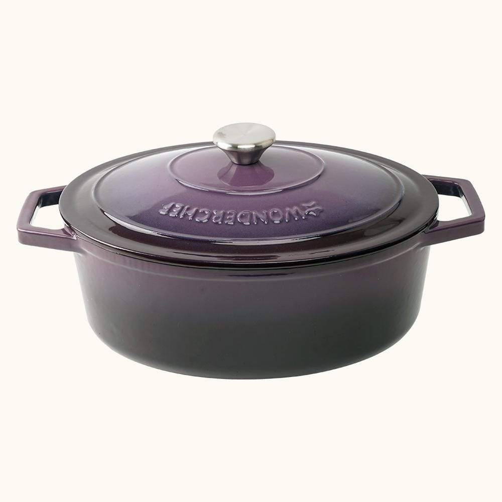 Wonderchef Ferro Cast-Iron - Oval Casserole with Lid 29cm (Purple)